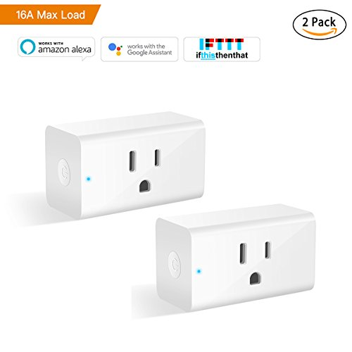 Smart Plug, Alexa Wifi Outlet Smart Plugs for Smart Home App Remote Control Outlets (AC 110-125V/16A/1800W), No Hub Required Electrical Socket Compatible with Alexa and Google Home Wifi Timer- 2 Pack (16a Plug)