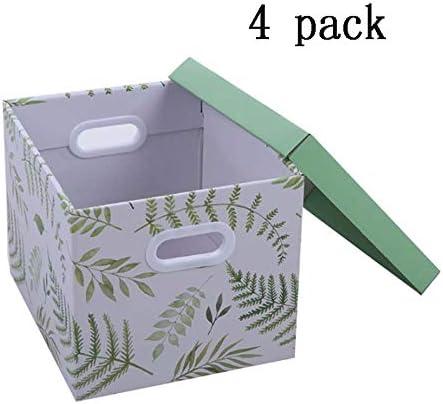 LHY SAVE 4 Pcs Cajas De Cartón,Caja De Almacenaje De Cartón,con Tapa Y Asa,Fácil De Ensamblar, para Regalo, Almacenamiento En El Hogar, Oficina Y Mudanza, 33 * 29 * 25.5Cm,Verde: Amazon.es: Hogar