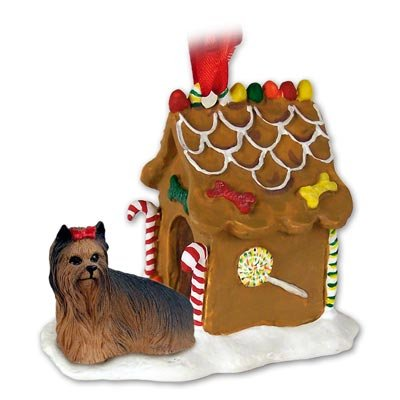 Yorkie Yorkshire Terrier Gingerbread House Christmas Ornament