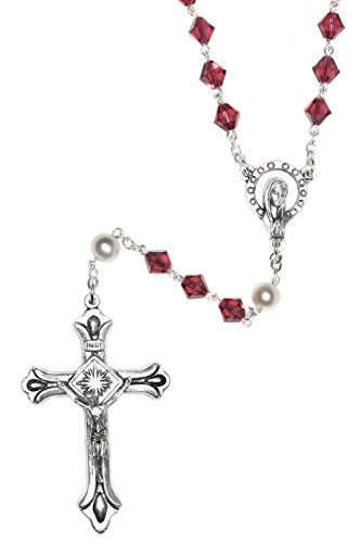 Catholic Prayer Rosary Made with Ruby Red & White Pearlized Swarovski Crystals (July) - Communion, Confirmation, RCIA, Christmas, Birthday & More