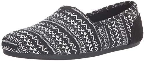 Skechers BOBS Womens Bobs Plush - Boho Winter. Stretch Aztec Knit Slip on W Memory Foam Ballet Flat