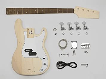4 cuerdas Bass guitarra Kit de montaje - Cuerpo de Tilo - 20 trastes - Perno en el cuello (kit-pb-10): Amazon.es: Instrumentos musicales