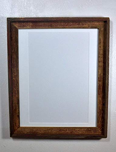 Farmhouse Poster Frame White 12x18 Mat Reclaimed Wood With Glass 16x20 Without Mat ()