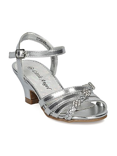 Alrisco Girls Open Toe Rhinestone Flower Ankle Strap Kiddie Heel Sandal HC27 - Silver Metallic (Size: Toddler 4) ()