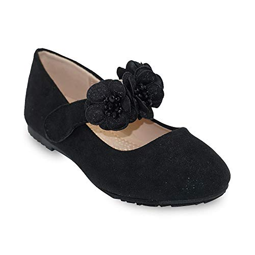 (Girls Glitter Suede Mary Jane Ballerina Flat Shoes Princess Dress Shoes (Toddler/Little Kid/Big Kid) Black 2)