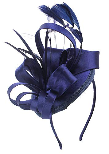 (Felizhouse Fascinator Hats for Women Ladies Feather Cocktail Party Hats Bridal Headpieces Kentucky Derby Ascot Fascinator Headband (#1 Satin Navy)