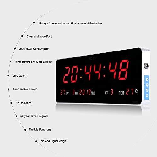 Home Orologio da Parete Digitale Orologio da Parete a LED Digitale Orologio da Parete a Temperatura EU Plug 110 240V (36 * 13 * 3cm Calendario