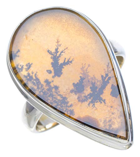 (Natural Scenic Dendritic Agate Handmade Unique 925 Sterling Silver Ring 7.75 A4032 )
