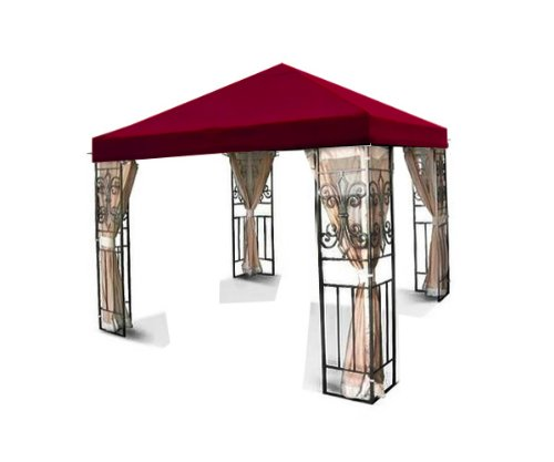 New 10'x10′ Single one Tiered Replacement Garden Gazebo Canopy Top Sun Shade – Burgundy
