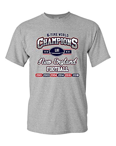 Brand New T-shirts - New World Champion 6-Time New England Football DT Adult T-Shirt Tee (Medium, Sports Gray)
