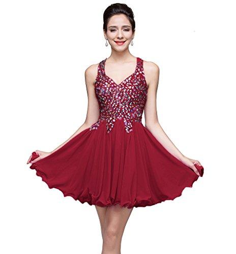 MisShow Juniors Short Crystal Chiffon Homecoming Prom Dress,Burgundy,Size (Homecoming Dance Ideas)