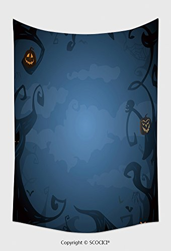 Home Decor Tapestry Wall Hanging Dark Blue Halloween Background With Place For Text Trees Clouds Bats Scary Branches In Twilight for Bedroom Living Room Dorm ()