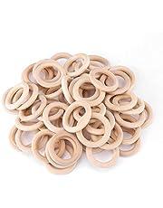 Houten ambachtelijke ring, Yevenr 50st houten ambachtelijke cirkels onafgewerkte houten ambachtelijke lus natuurlijke houten ringen onafgewerkte houten ringen voor DIY