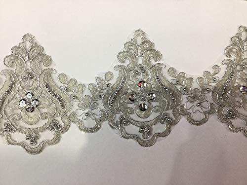 Fabric Sewing Trim - Beaded Lace Trim Sequinned Vintage Decorative Wedding/Bridal DIY Craft Sewing Coloured Fabric TR3 (Silver 5 Yards)