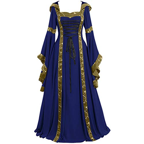 CCatyam Plus Size Dresses for Women, Skirt Medieval Vintage Print Long Sleeve Cosplay Casual Party Fashion Blue -