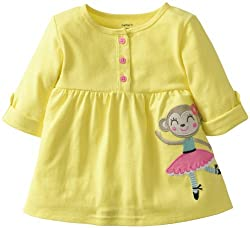 Carter's Baby Girls' 3/4-sleeve French Terry Appliqué Top (6 Months, Yellow)