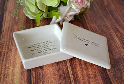 Unique Mother of the Groom Gift or Mother's Day Gift - Personalized Square Keepsake Box - Thank you for Raising the Man of My Dreams - comes with a gift box
