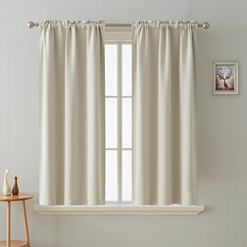 Deconovo Blackout Curtain Room Darkening Thermal Insulated Curtains Rod Pocket Window Curtain for Bedroom Light Beige 38 x 54 Inch 2 - Rod Window Curtain Pocket