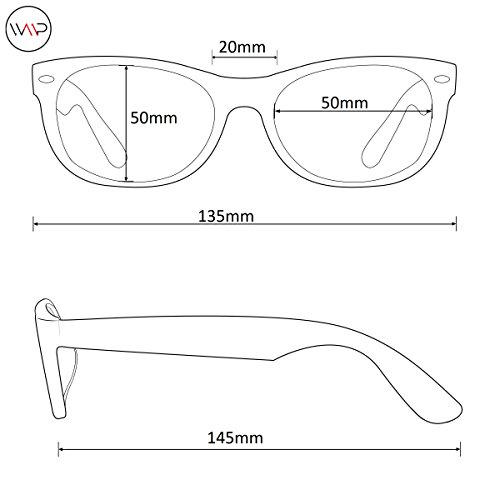 WearMe Pro - Retro Clear Circle Round Metal Sunglasses Black Frame