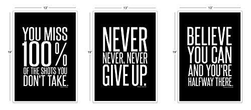 (Motivational Inspirational Famous Quotes Teen Boy Girl Sports Wall Art Posters Decorative Prints Black White Workout Fitness Wall Decor Home Office Business Classroom Dorm Gym Entrepreneur (13 x 19))