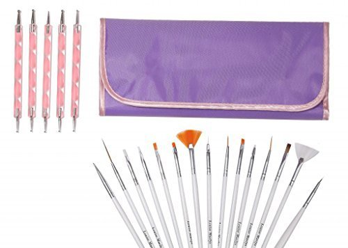 LOUISE-MAELYS-20-piece-Nail-Art-Painting-Kit-Brushes-and-Dotting-Pen-Purple-Bag-by-LOUISE-MAELYS