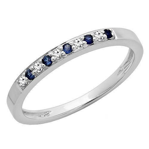 (Dazzlingrock Collection 10K Blue Sapphire & White Diamond Ladies Anniversary Wedding Band Stackable Ring, White Gold, Size 7)