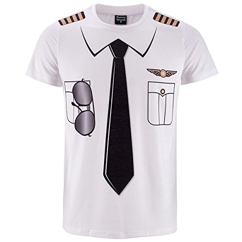 [Funny World Men's Pilot Uniform Costume T-Shirts (L)] (Funny Uniform Costumes)