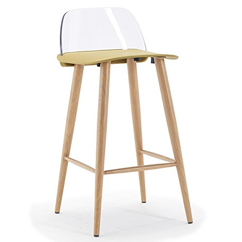 PC material backrest, painted steel pipe bracket, PP plastic cushion, bar chair, bar stool ( Color : Yellow-B ) by Xin-stool