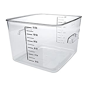 Rubbermaid Commercial Carb-X Space Saving Square Food Storage Container, 12-Quart, Clear (FG631200CLR)