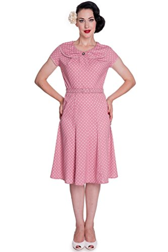 Hell Bunny Pin up Tattoo Polka Dot 50s Swing Pink Ingrid Rockabilly Dress (M) (50s Tattoos)