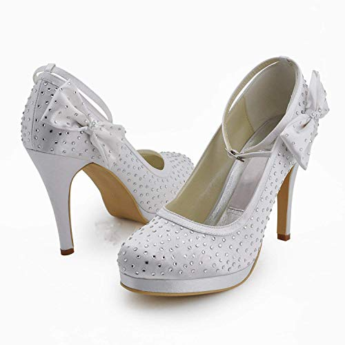 White colore Heel Satin Gymz691 Prom 10cm Scarpe Womens Sandali Uk Sposa 8 Qiusa Dimensione Pompe Crystals 10cm Flatfs Da Red Party Heel Evening nRAqBO