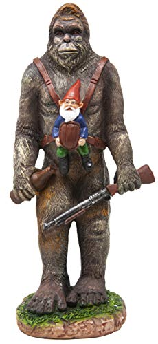 (Funny Guy Mugs Garden Gnome Statue - Bigfoot and A Gnome - Indoor/Outdoor Garden Gnome Sculpture for Patio, Yard or Lawn)