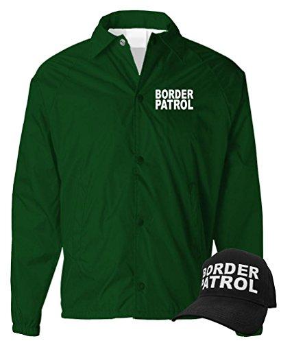 Law Enforcement Coaches (BORDER PATROL - law enforcement officer - COACH JACKET + HAT COMBO, L, Forest)
