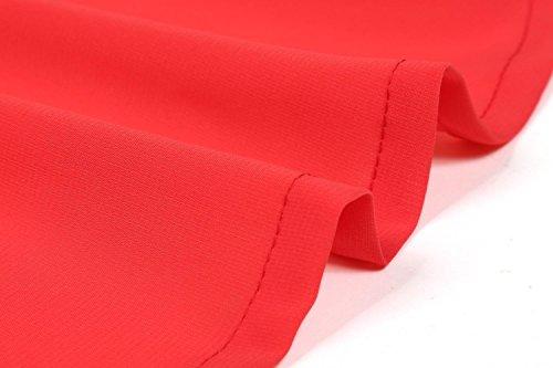 Fiesta Zeagoo y Mujer para sin Gasa Vestidos Rojo Mangas de de z0wra0Xxq