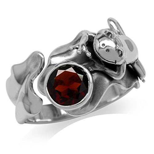 (Silvershake 1.36ct. Natural Garnet 925 Sterling Silver Lotus Leaf and Frog Ring Size 7)