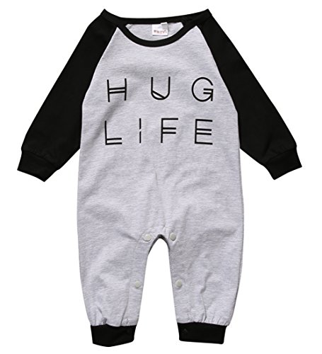 Baby Boy One Piece Romper (Baby Boy Girl Romper Letter Print Long Sleeve Jumpsuit Playsuit Outfits (0-6 months, black))