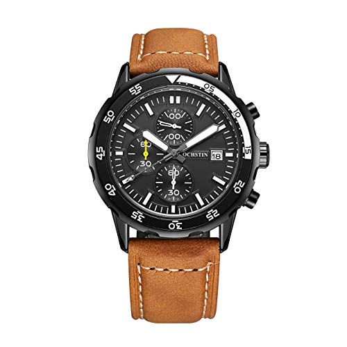Liobaba Quartz Watches for Men,44A Waterproof Men Sports Watch Luxury Genuine Leather Chronograph Quartz Watch Multifunctional Business Watch (Genuine Chronograph Leather)