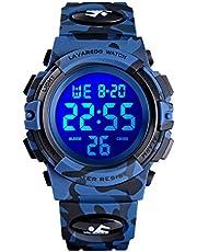 Montre Enfant Garçon Adolescent Digitale Outdoor Sport Multifonction Étanche LED Lumière Alarme Calendrier Date avec Bande de Silicone Bleu