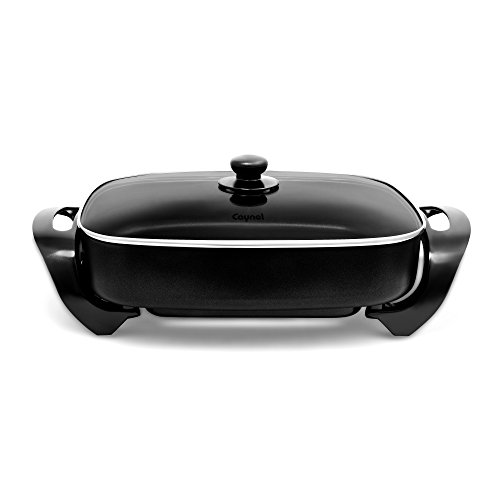 """Caynel Professional Aluminum Non-stick Electric Skillet Jumbo 16"""" x 12""""x 3"""",With Glass Lid, 16 Inch, Black"""