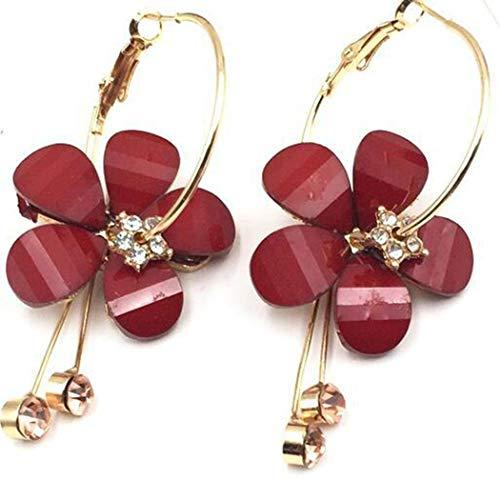ICCUN Women Elegant Retro Flower Hollow Out Earrings Drop & Dangle Wine Red ()