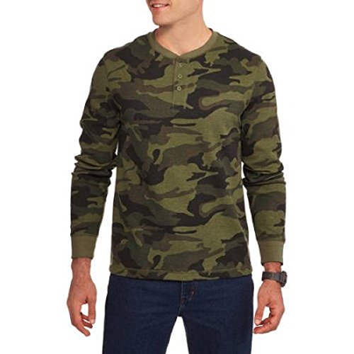 Faded Glory Men's Long Sleeve Waffle Thermal Henley Top / Shirt - Big 2X-5X (2X, Traditional Camo) (Camouflage Thermal Shirt)
