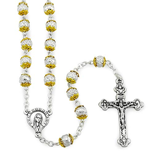 Budded Tone Cross (Rosary Metal Beads with Gold Caps)