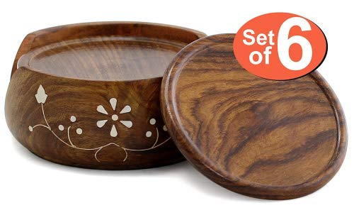 (SouvNear COMINHKPR73530 Set & Holder-Handmade Wood 6 Round Coasters and Wooden Holder-Table Top Accessories, one size Brown)