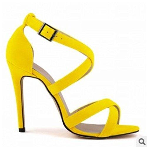 Yellow Mujer Punta Abierta La De Con Sandalias GRRONG Finas Sandalias pFzPtxwR