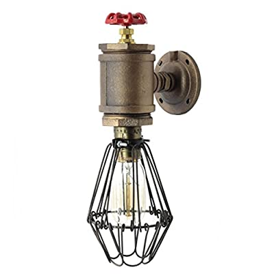 "Y-Nut Loft Style Sconce ""Old Bill"", Wall Lamp With Cage, Steam Punk, Industrial, LL-011"