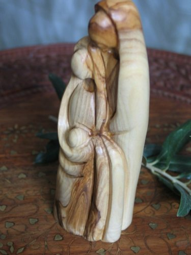 Olive Wood Sculpture of the Holy Family Carved in Bethlehem
