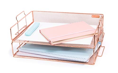 Rosework Rose Gold 2 Tier Letter Tray Desk Organizer for Women, Stackable Paper Tray Organizer, File Organizer for Office Supplies and Desk Accessories.