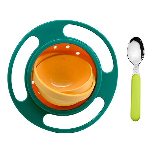 Childs Tableware Set Toys - Ztl Baby Gyro Bowl and Spoon Set 360 Dgree Rotation Spill Resistant Gyroscopic Bowl with Lid Toy Tableware for Kids Toddlers