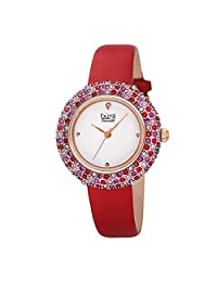 Burgi Women's BUR227 Swarovski Colored Crystal & Diamond Accented Leather Strap Watch Packed in a Beautiful Gift Box - BUR227RD