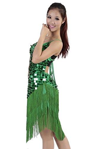 Traje de Latino de Disfraz de Mujeres Noche Gama Sin Traje Sin Verde Competencia Mangas alta KINDOYO Disfraz Borla Baile Traje de Club Respaldo Baile nOaBnSR